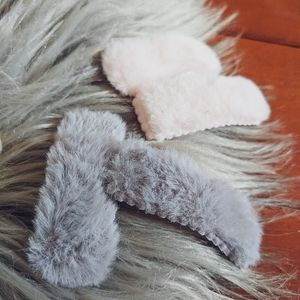 HAIR CLIP SET • Pink & Grey Fluffy | NWT